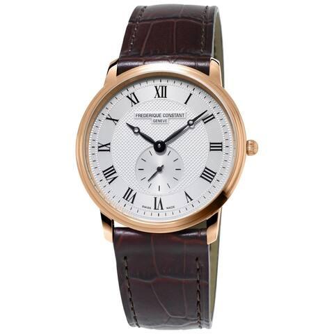 Frederique Constant Men's FC-235M4S4 'Slimline' Brown Leather Watch