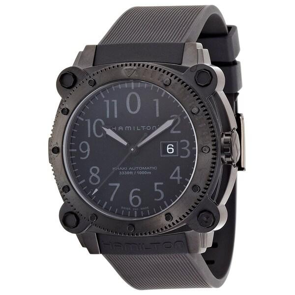 Hamilton Men's H78585333 'Khaki Belowzero' Automatic Black Rubber Watch. Opens flyout.