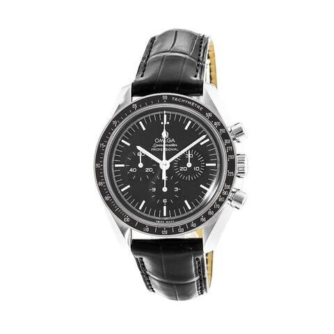 Omega Men's 311.33.42.30.01.001 'Speedmaster ' Chronograph Black Leather Watch