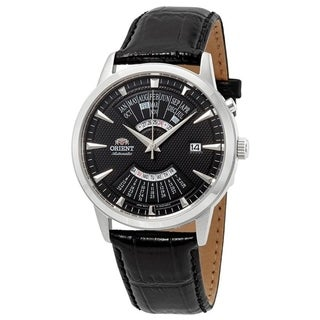 Link to Orient Men's FEU0A004BH 'Perpetual Calendar' Automatic Black Leather Watch Similar Items in Men's Watches
