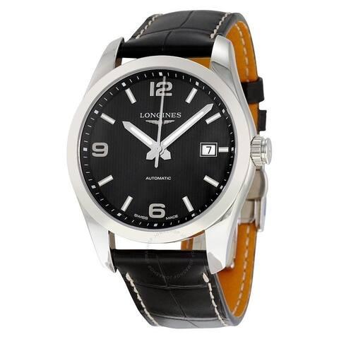 Longines Men's L2.785.4.56.3 'Conquest Classic' Black Leather Watch