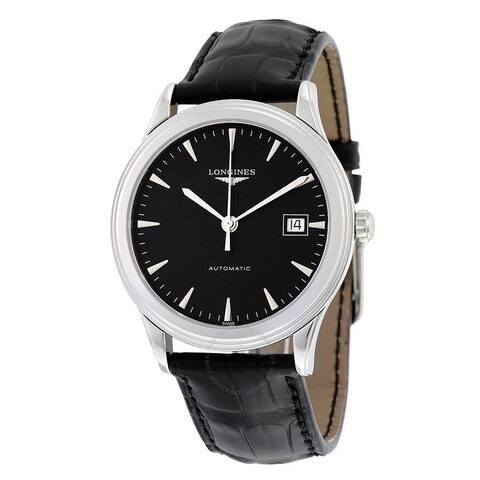 Longines Men's L4.874.4.52.2 'Flagship' Black Leather Watch