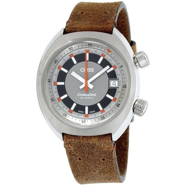 8bb045039 Shop Oris Men's 73377374053LSBRN 'Chronoris' Brown Leather Watch ...