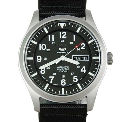 Seiko Men's SNZG15J1 'Series 5' Black Nylon Watch