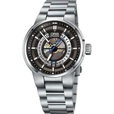 Oris Men's 73377404154MB 'Williams Engine Date' Skeleton Stainless Steel Watch