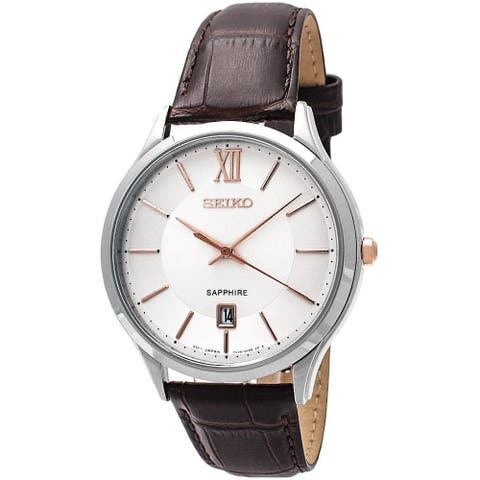 Seiko Men's SGEH55 'Classic' Brown Leather Watch