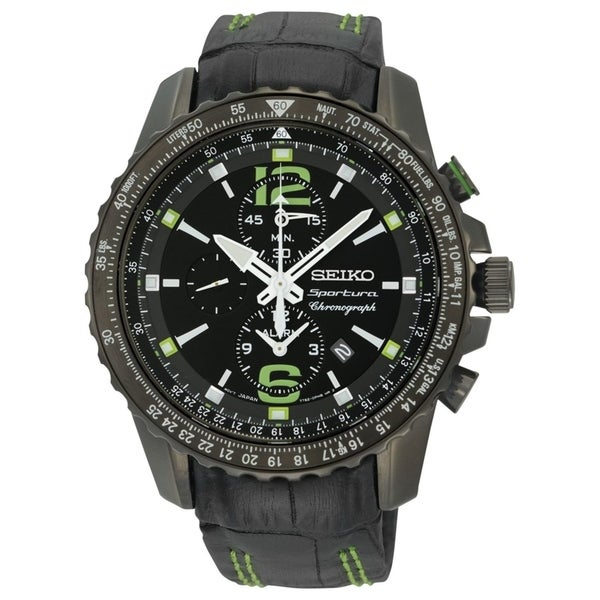 fe55a3cff Shop Seiko Men's SNAE97 'Sportura' Chronograph Black Leather Watch - Free  Shipping Today - Overstock - 27623183