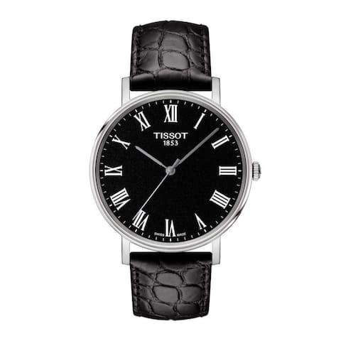 Tissot Men's T1094101605300 'Everytime' Black Leather Watch