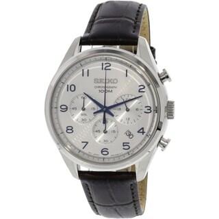 Seiko Men's SSB229 'Chronograph' Chronograph Black Leather Watch