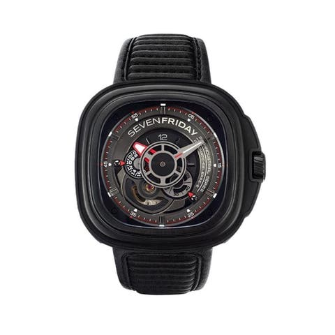 Sevenfriday Men's P3B-01 'P-Series' Black Leather Watch