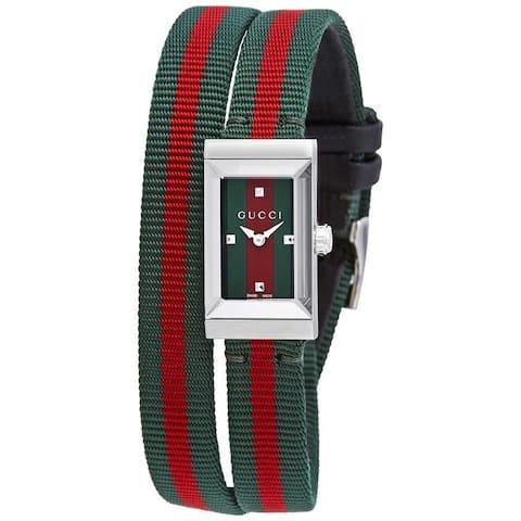 Gucci Women's YA147503 'G-Frame' Two-Tone Fabric Watch