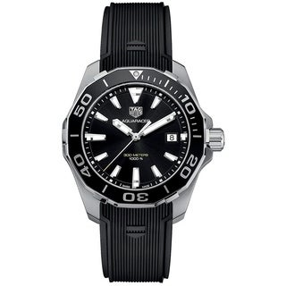 Link to Tag Heuer Men's WAY111A.FT6151 'Aquaracer' Black Rubber Watch Similar Items in Men's Watches