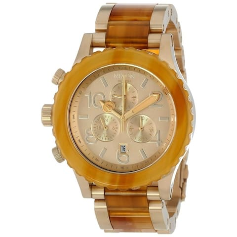 Nixon Unisex A037-1423 '42-20 Chrono' Chronograph Gold-Tone Stainless Steel with Acetate center links Watch