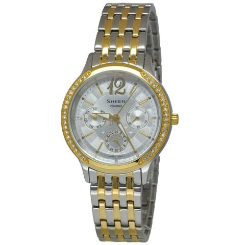 Casio Women's SHE3030SG-7A 'Sheen' Crystal Two-Tone Stainless Steel Watch
