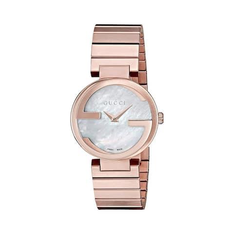 Gucci Women's YA133515 'Interlocking-G' Rose-Tone Stainless Steel Watch