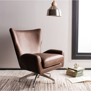 Safavieh Couture Mercier Top Grain Leather Brown Arm Chair