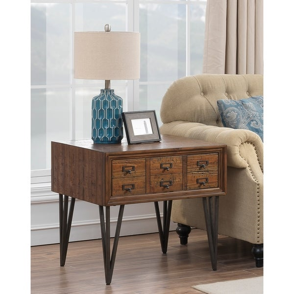"Somette Oxford One Drawer End Table, Oxford Distressed Brown - 24""L x 24""W x 24""H"