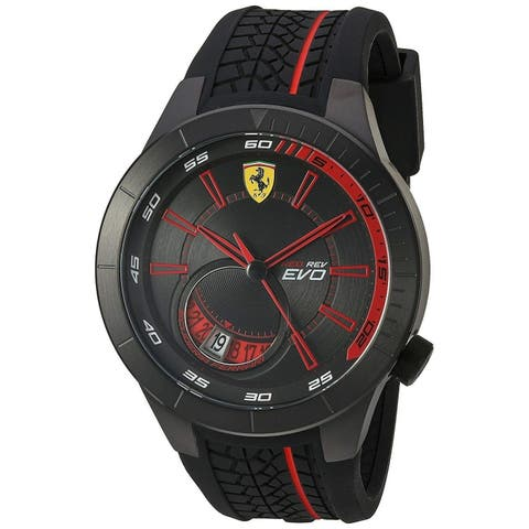 Ferrari Men's 830339 'Red Rev Evo' Black Silicone Watch