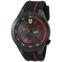 Ferrari Men's 830339 'Red Rev Evo' Black Silicone Watch