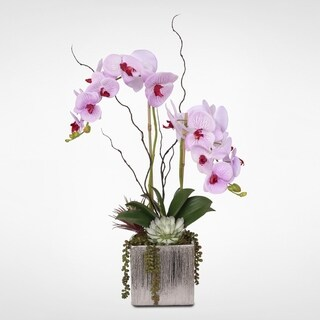 Real Touch Lavender Phalaenopsis Orchids in a Silver Ceramic Pot