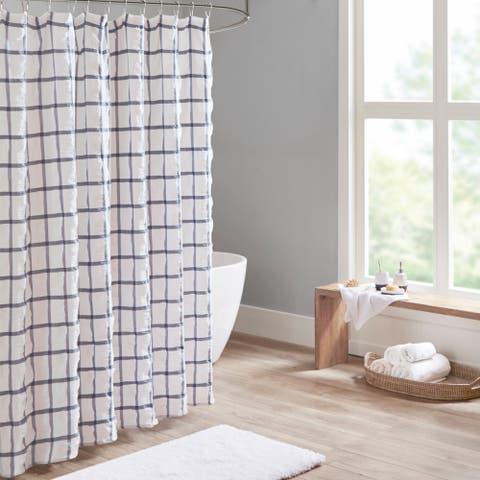 Madison Park Matthies Yarn Dyed Seersucker Shower Curtain