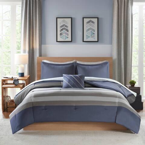 Intelligent Design James Blue/ Grey Complete Bed Set Including Sheets