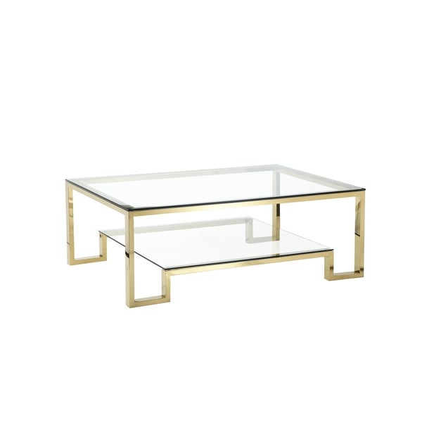 Glass And Metal Coffee Table With Shelf: Shop Geometric Metal Framework Coffee Table With Glass Top