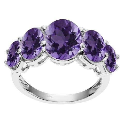 Sterling Silver with Natural Amethyst Oval-Cut Five Stone Band Ring