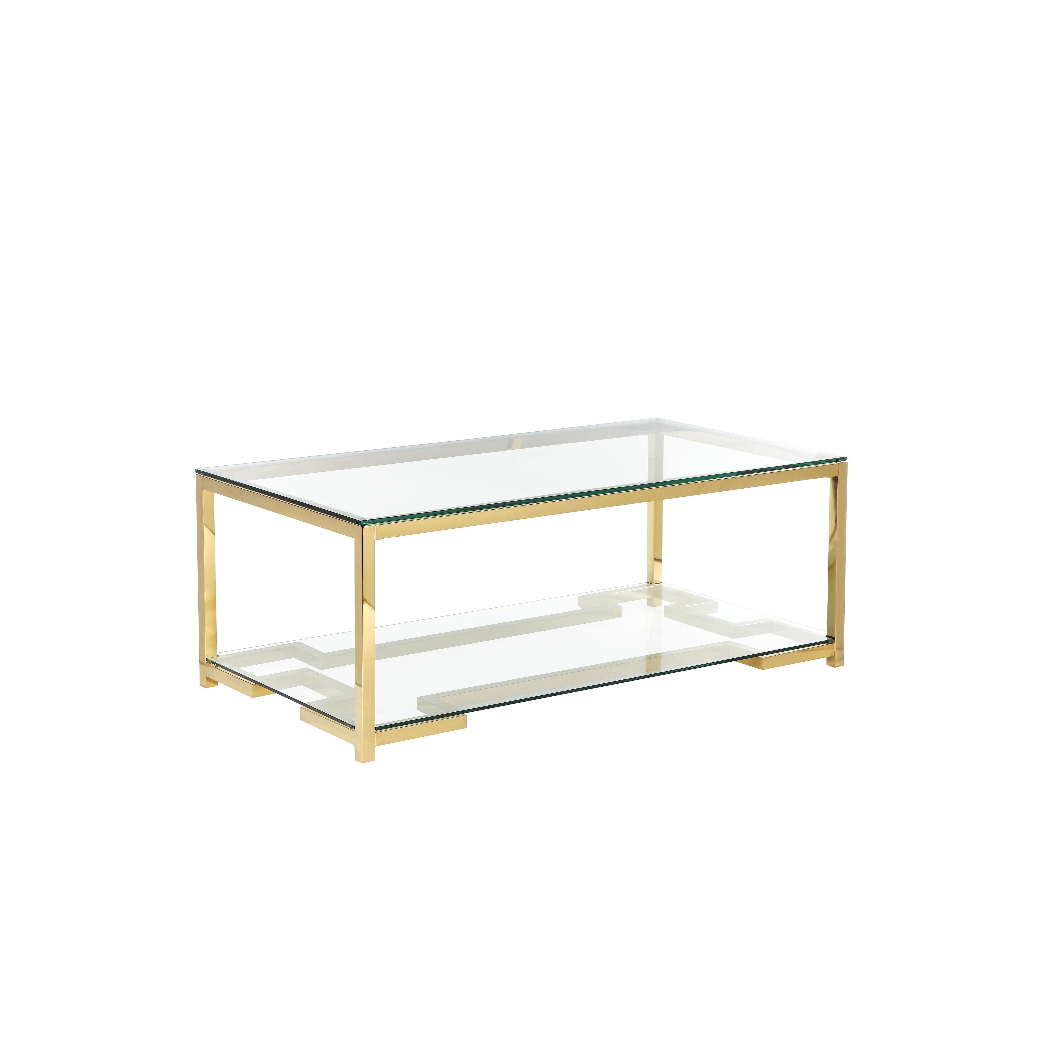 Coffee Table With Geometric Metal Base