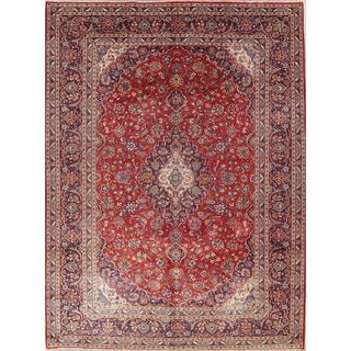 "Kashan Floral Medallion Traditional Handmade Wool Persian Area Rug - 13'0"" x 9'9"""