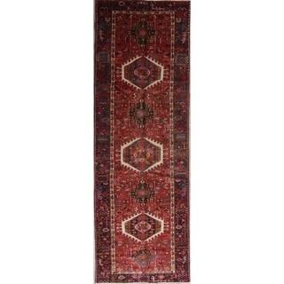 """Gharajeh Tribal Geometric Handmade Wool Persian Oriental Rug - 10'10"""" x 3'6"""" Runner"""