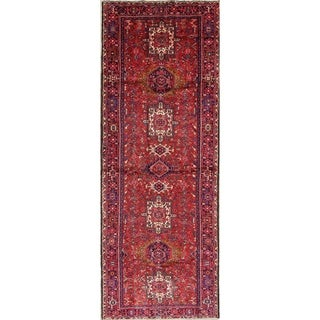 """Gharajeh Tribal Geometric Handmade Wool Persian Oriental Rug - 12'9"""" x 4'5"""" Runner"""
