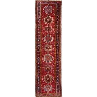 "One of a Kind Heriz Geometric Handmade Wool Persian Oriental Rug - 12'11"" x 3'7"" Runner"