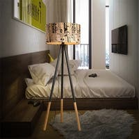 Creative Warm Personality Round Wood Vertical Tripod Floor Lamp with Light Source