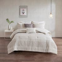 Urban Habitat Bailey White/ Grey 5 Piece Cotton Clip Jacquard Comforter Set - White/Grey