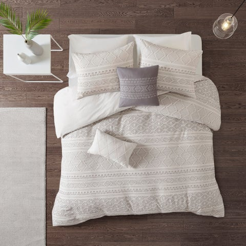 Urban Habitat Bailey White/ Grey 5 Piece Cotton Clip Jacquard Duvet Cover Set
