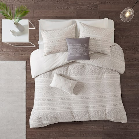 Urban Habitat Bailey White/ Grey 5 Piece Cotton Clip Jacquard Duvet Cover Set - White/Grey