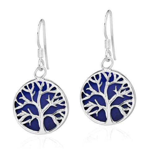 Handmade Round Tree of Life Stone Sterling Silver Dangle Earrings (Thailand)