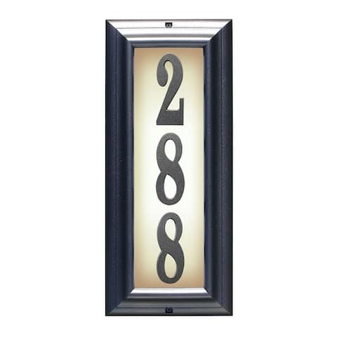 QualArc Edgewood Vertical Lighted Address Plaque in Pewter Frame Color