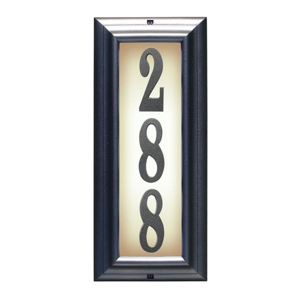9f8b571bbb4a5 QualArc Edgewood Vertical Lighted Address Plaque in Pewter Frame Color