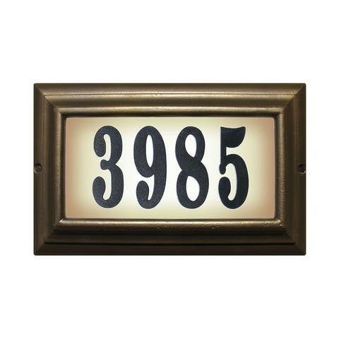 """QualArc Edgewood Large """"Do It Yourself Kit"""" Lighted Address Plaque in Oil Rub Bronze Frame Color"""