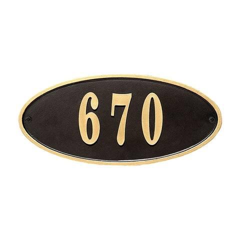 QualArc Claremont Oval Cast Aluminum Black with Gold Border Address Plaque
