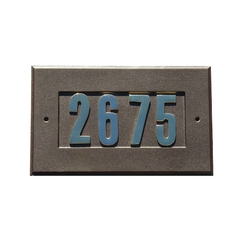"QualArc Manchester Address Plate W/3"" Gold Brass Numbers (Numbers included) in Bronze"