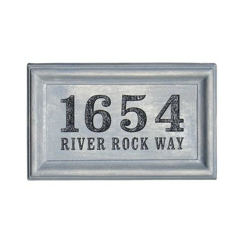 QualArc Engraved Rectangle Cast Concrete Address Block in Antique Gray Color