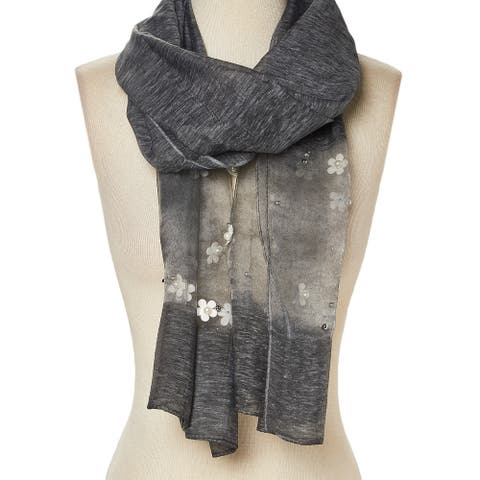 Viscose Sheer-Accent Floral Embellished Pearl Scarf for Woman - Large