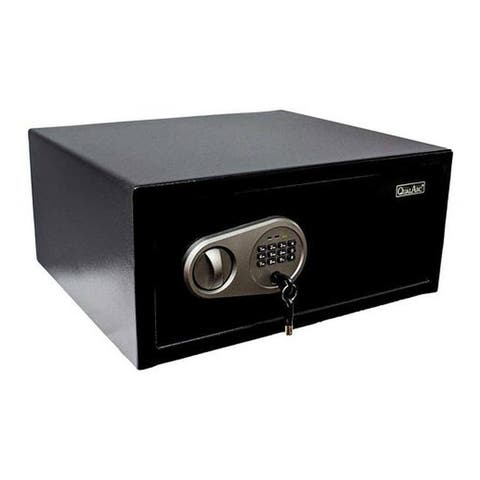 QualArc Solid Steel Laptop/Hotel Safe in Black Powder Coated Finish - 1.0 Cu Ft.
