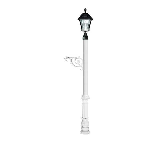 QualArc Lewiston Post System Only with Bayview Solar Lamp, Support Bracket and Ornate Base - White