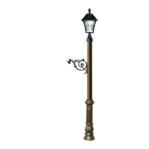 QualArc Lewiston Post System Only with Bayview Solar Lamp, Support Bracket and Ornate Base - Bronze