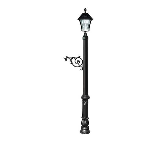QualArc Lewiston Post System Only with Bayview Solar Lamp, Support Bracket and Ornate Base - Black