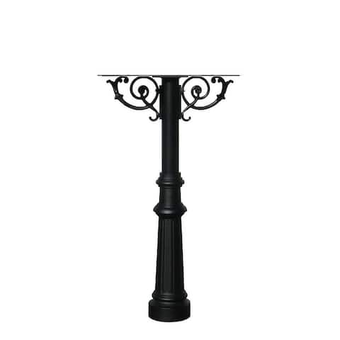 QualArc The Hanford Triple Mailbox Post System with Scroll Supports Decorative Fluted Base 8 No Mailbox
